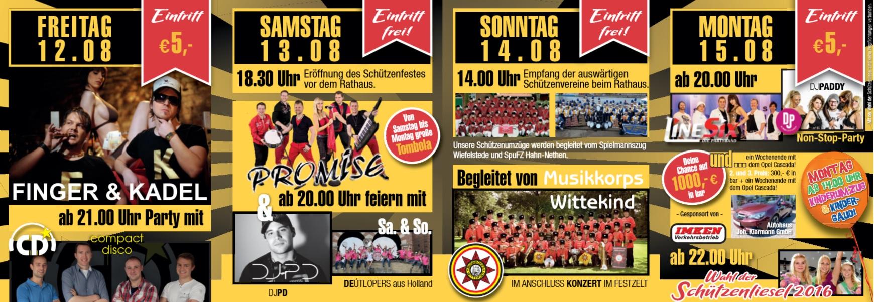 Programm des 123.Wiefelsteder Schützenfest